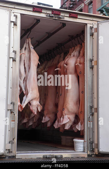 Truck delivering pigs to a New York Chinatown restaurant on Mott Street - Stock Image