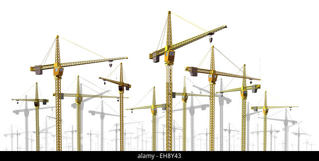 Cranes at construction site border design element as a development and economic growth symbol with a group of commercial - Stock Image