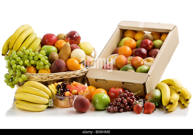 A whole bunch of colorful fruits. - Stock Image