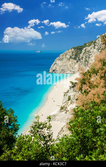 Egremni beach, Lefkada island, Greece. Large and long beach with turquoise water on the island of Lefkada in Greece - Stock Image