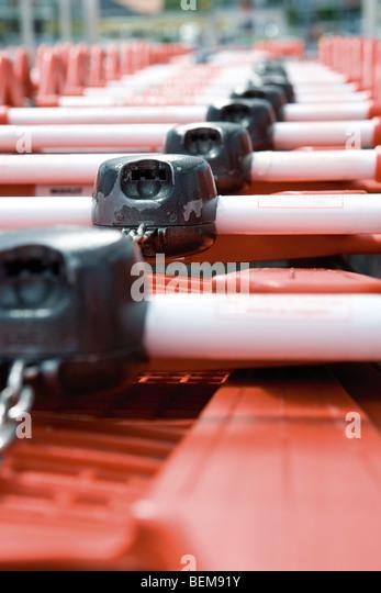 Shopping cart locks, close-up - Stock Image