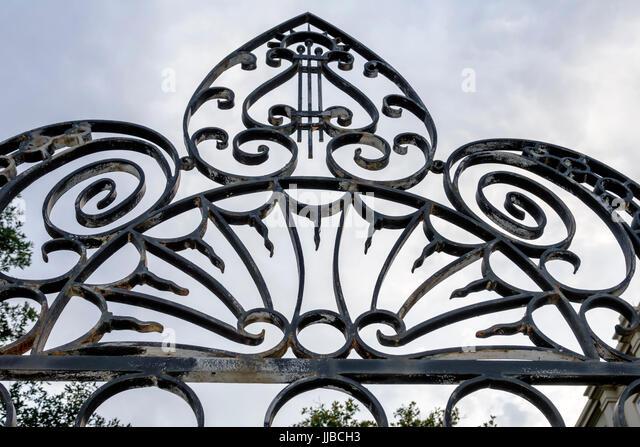 Charleston South Carolina SC Historic Downtown ornamental ironwork wrought iron - Stock Image