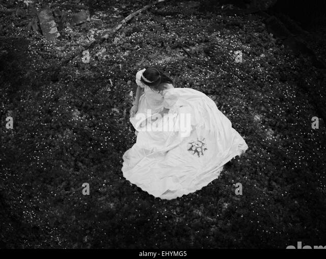 Overhead view of a young woman sitting on the forest floor - Stock Image