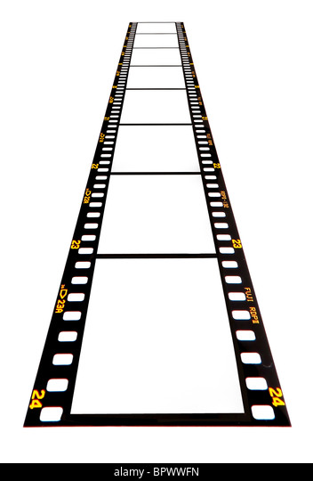 Blank 35mm film strip on a white background ready for your images to be inserted. Fujichrome. Pre-digital from 1980s/1990s. - Stock Image