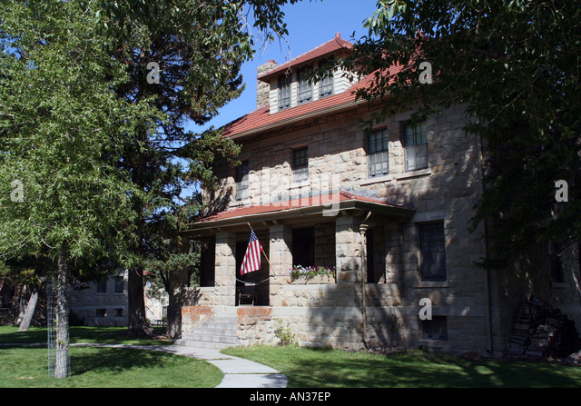 Historic Officers' Row, Fort Yellowstone, Mammoth Hot Springs, Yellowstone National Park - Stock Image