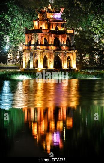 Turtle Tower, Hoan Kiem Lake, Hanoi, Vietnam - Stock-Bilder