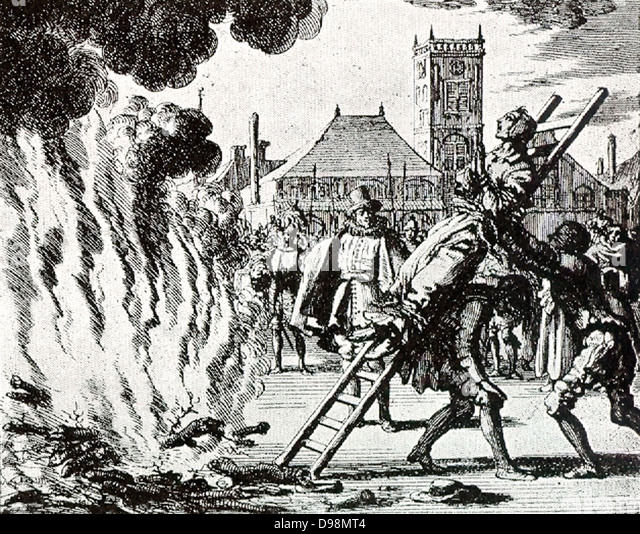 The Mennonite Anna Hendrick is (on November 10, 1571), Amsterdam, thrown into the fire. - Stock Image