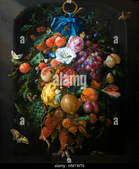 Festoon of Fruit and Flowers, by Jan Davidsz de Heem, 1660-1670, Rijksmuseum, Amsterdam, Netherlands, Europe, - Stock Image