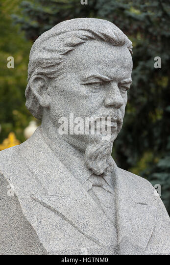 Moscow, Russia - August 06, 2014. Monument to A.S. Popov, inventor of radio in Moscow, Russia - Stock Image