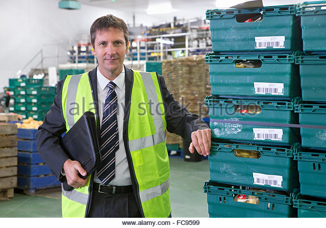 Portrait confident bank manager in potato food processing plant - Stock Image