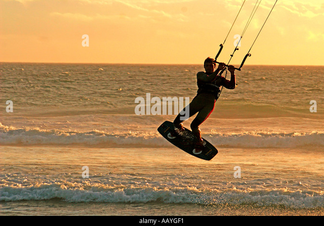 south africa cape town blouberg beach kite surfer - Stock Image