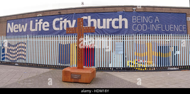 Belfast Falls Rd New Life City Church and iron cross,Being a God Influence - Stock Image