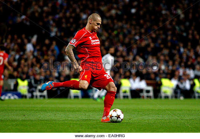 Madrid, Spain. 4th November, 2014. Liverpool´s Slovakian Defender Martin Skrtel during the Champions League - Stock Image