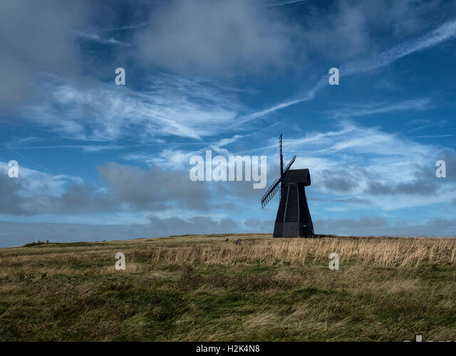 Beacon Mill, or New Mill, a Grade II listed smock mill in the South Downs National Park at Rottingdean, East Sussex, - Stock Image