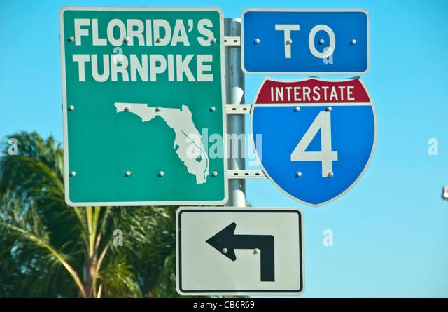 Orlando, Florida, Florida Turnpike Interstate 4 signs - Stock Image