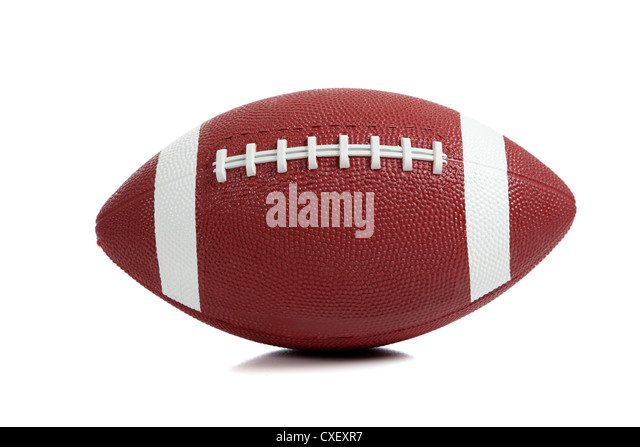 An American football on a white background - Stock Image