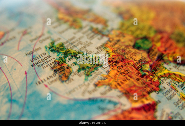 Photograph of UK england united kingdom maps globe travel atlas - Stock-Bilder