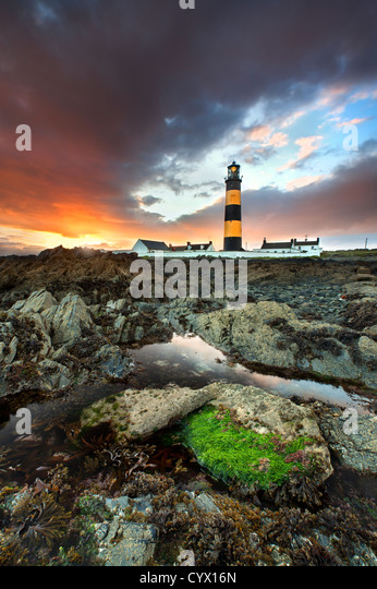 St Johns lighthouse in county Down at sunset. - Stock Image