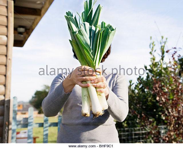 Woman hiding face behind vegetables - Stock-Bilder