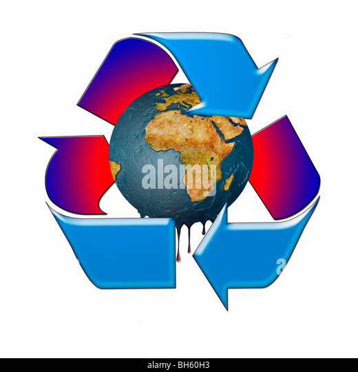 Global Warming, represented by a Melting Planet Earth within a Recycle Symbol - Stock Image