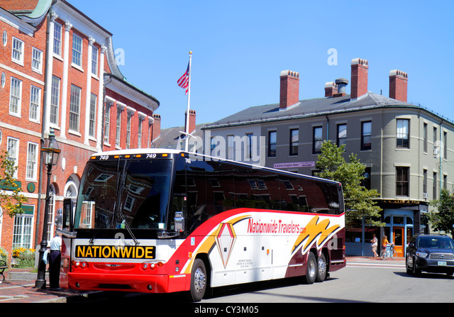 New Hampshire Portsmouth Market Square Congress Street bus motor coach - Stock Image
