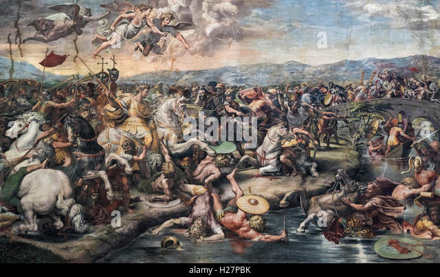 Rome. Italy. Fresco (1517-1524) depicting the Battle of the Milvian Bridge (detail), Hall of Constantine, Vatican - Stock Image