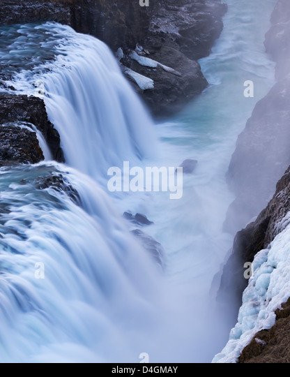Raging Gullfoss Waterfall in Iceland. Winter (January) 2013. - Stock Image