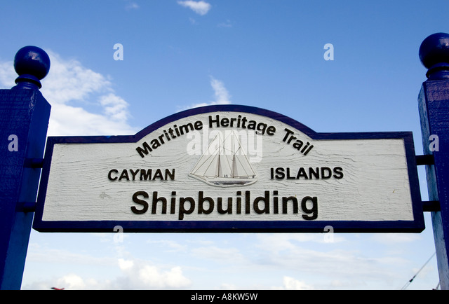Grand Cayman George Town Maritime Heritage Trail sign Shipbuilding tourist attraction - Stock Image