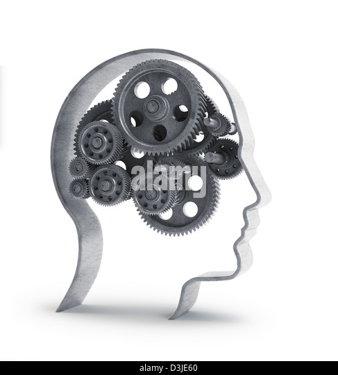 Cog wheels and gear inside a head shape -psychology and creativity concept illustration - Stock Image