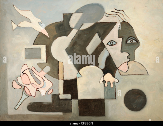 Abstract oil painting with dove; face and geometrical forms - Stock Image