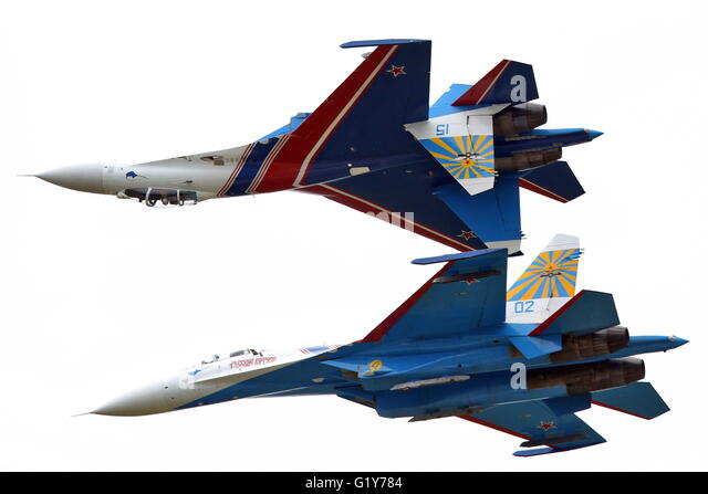 Moscow, Russia. 21st May, 2016. Sukhoi Su-27 fighter jets of the Russkiye Vityazi [Russian Knights] aerobatic team - Stock Image