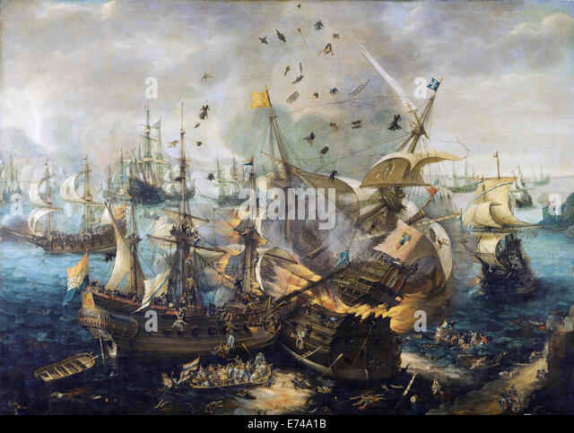 The Explosion of the Spanish Flagship during the Battle of Gibraltar - by Cornelis Claesz van Wieringen, 1621 - Stock Image