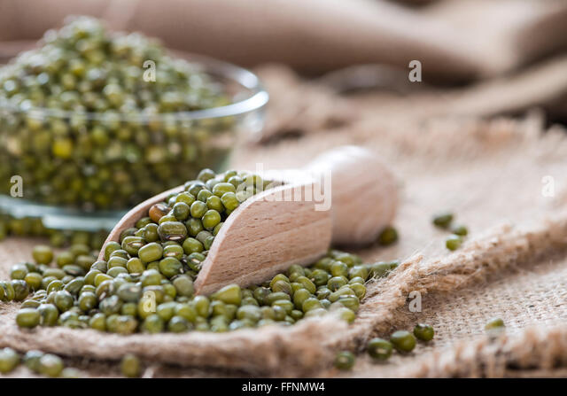 Portion of dried Mung Beans (detailed close-up shot) - Stock Image