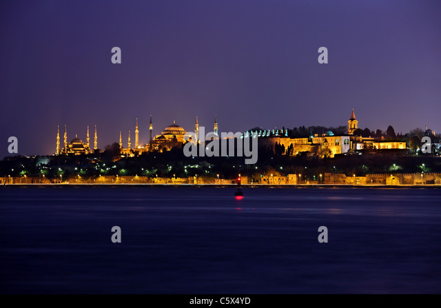 From left to right, the Blue Mosque (Sultanahmet Camii), Hagia Sophia and the Topkapi palace. Istanbul, Turkey - Stock Image