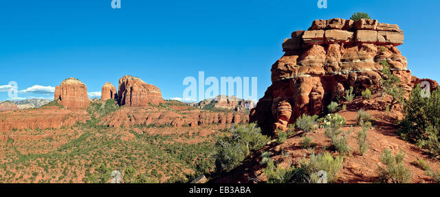 USA, Arizona, Yavapai County, Coconino National Forest, Cathedral Rock viewed from Baldwin Altar - Stock Image