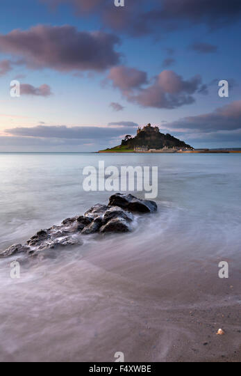St Michael's Mount; From Marazion Cornwall; UK - Stock Image