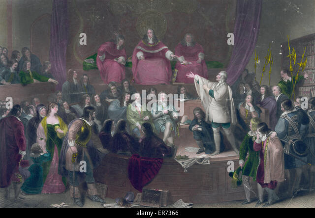 The trial of the honourable Colonel Algernon Sidney, 1683. painted by F.P. Stephanoff, Esq. London 1835. Two line - Stock Image