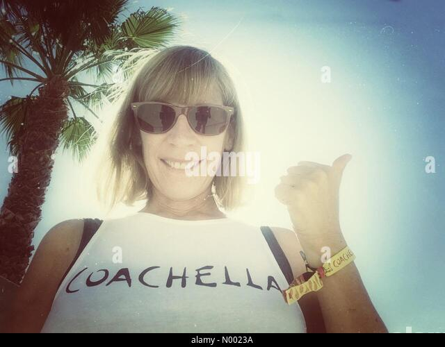 Indio, California USA 9th April, 2015 Selfie shows I'm ready for the Coachella Valley Music and Arts Festival - Stock Image