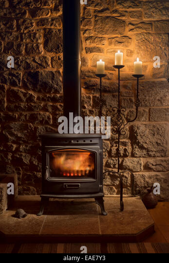 Living wall uk stock photos living wall uk stock images alamy for Living room with wood burning stove