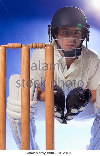Cricket player waiting at bats - Stock Image