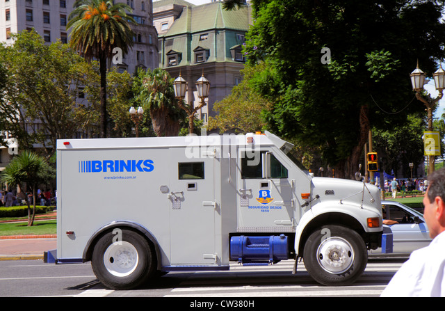 Argentina Buenos Aires Plaza de Mayo street scene Brinks international company security bullet-proof armored truck - Stock Image