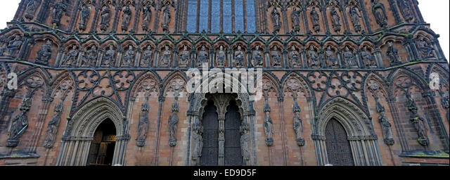 Lichfield Cathedral, Staffordshire England UK at dusk - Stock Image