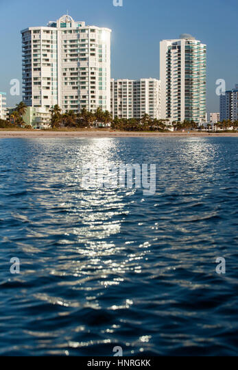 Oceanfront Condominiums in Lauderdale-by-the Sea, Florida, USA - Stock Image