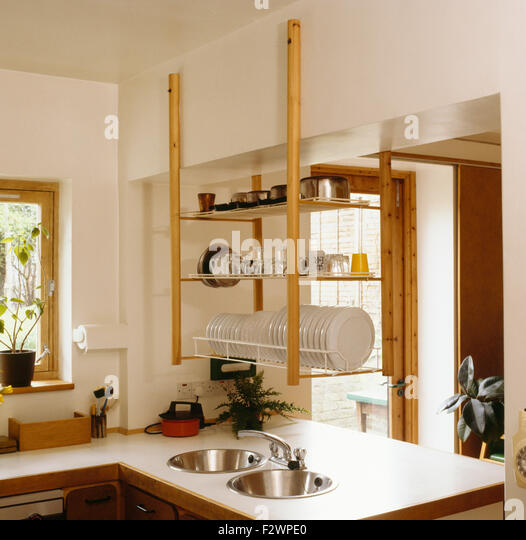 Hanging Open Kitchen Shelves: Shelves Above Kitchen Sink Stock Photos & Shelves Above