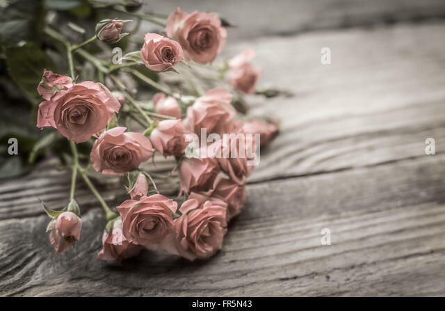 Bouquet of roses on old wooden boards horizontal - Stock Image
