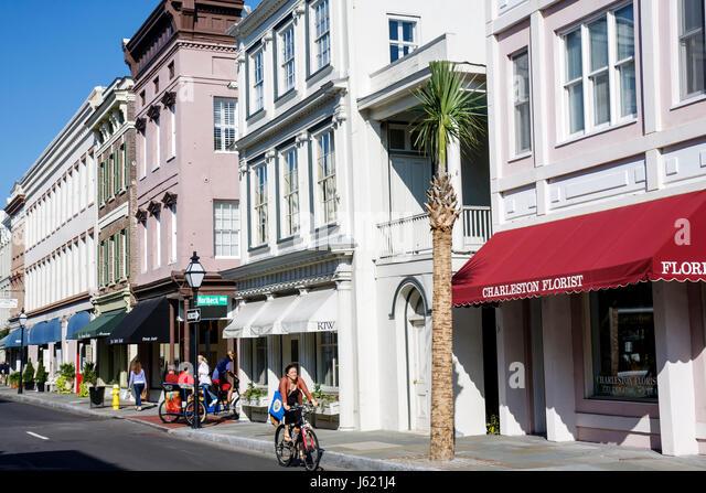 Charleston South Carolina National Historic Landmark Historic District preservation King Street Antique District - Stock Image