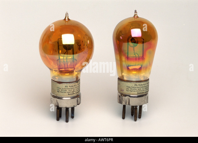 early thermionic valves or vacuum tubes - Stock Image