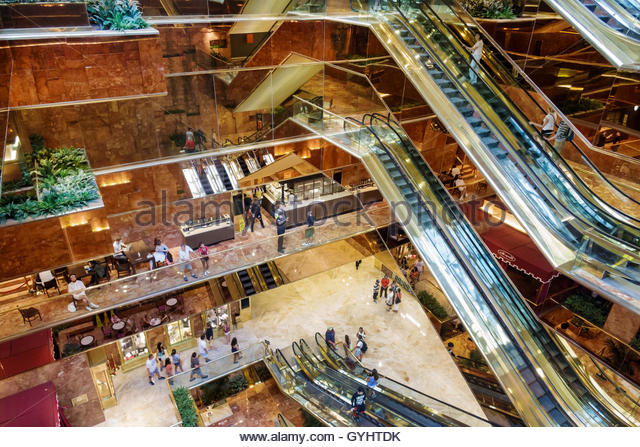 Manhattan New York City NYC NY Midtown Fifth Avenue Trump Tower atrium escalator multi-story overhead view - Stock Image