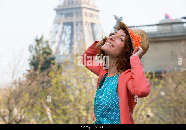 Portrait of woman in Paris - Stock-Bilder