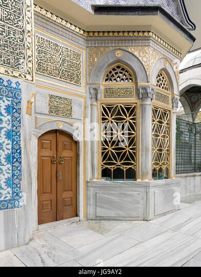 Exterior view of the shrine of Hazrat Abu Ayub Ansari, Eyup Sultan Mosque, Istanbul, Turkey - Stock Image